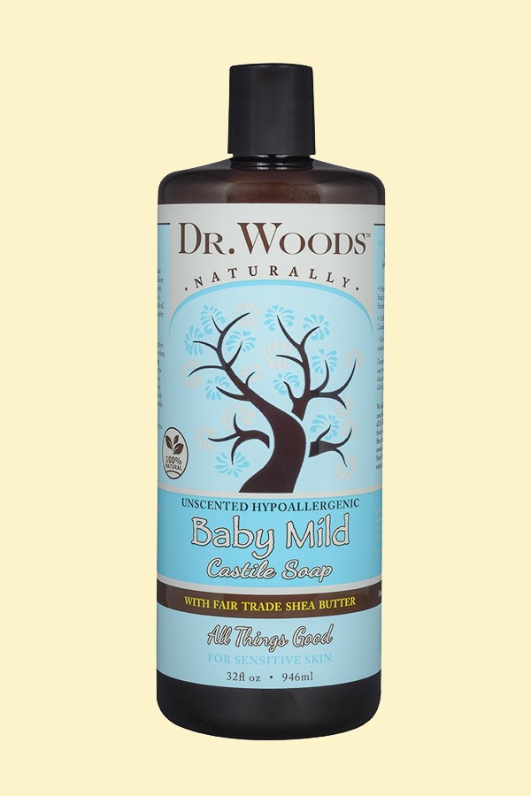 Dr. Woods Unscented Hypoallergenic Baby Mild Castile Soap with Fair Trade Shea Butter